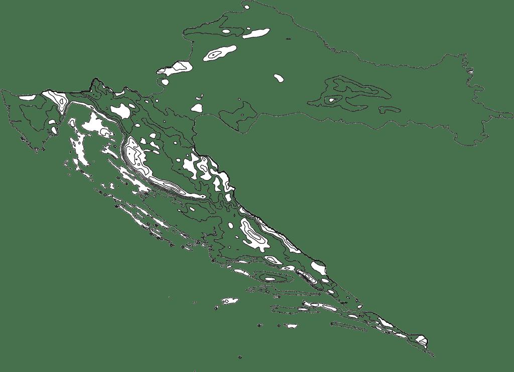 Croatia Contour Map